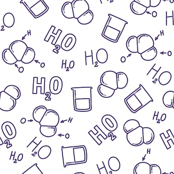 Chemical seamless pattern with h2o differnts representations of water chemical formula of water