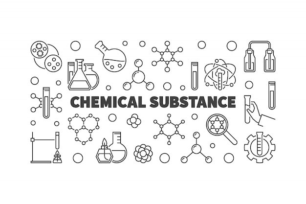 Chemical substance chemistry outline icon illustration