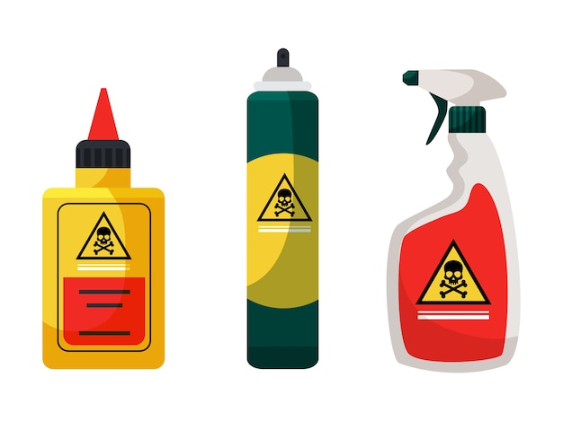 Chemicals for insect extermination and disinfection set spray aerosol liquid toxic poison