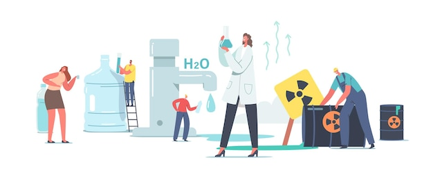 Chemicals in water concept. tiny scientist female character in white lab coat hold beaker research water sample in laboratory. tiny people at huge tap, toxic waste barrels. cartoon vector illustration