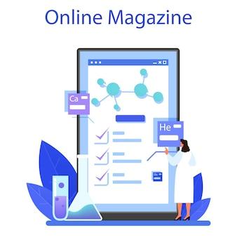 Chemist 온라인 서비스 또는 플랫폼. 온라인 잡지. 평면 벡터 일러스트 레이 션