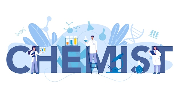 Chemist scientist typographic header concept