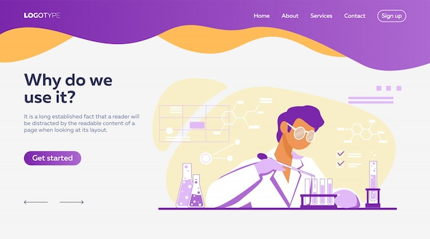 Chemist working in lab landing page template