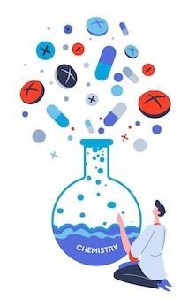 化学および製薬業界、錠剤またはカプセルを製造する人。薬理学またはヘルスケアのための研究。物質と薬の入ったフラスコ。フラットスタイルのラボベクトルの科学者