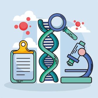 アイコンが設定された化学と科学のdna