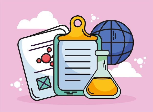 化学と科学のドキュメントフラスコとグローバル球