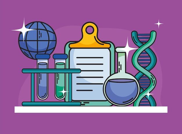 化学および科学フラスコチューブとアイコンコレクション