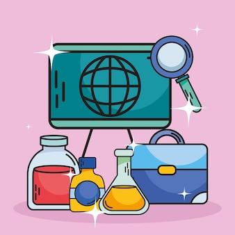 化学および科学フラスコスーツケースボードとルーペ Premiumベクター