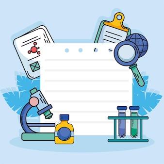 ノート紙の周りの化学と科学のアイコンコレクション
