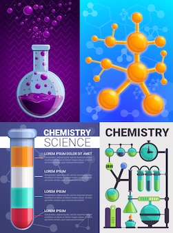 Chemistry banner set, cartoon style