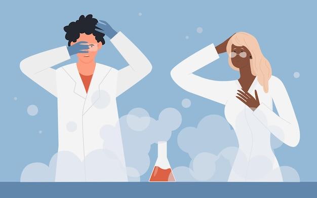 Химический стакан научный эксперимент процесс химическая реакция и ученые люди