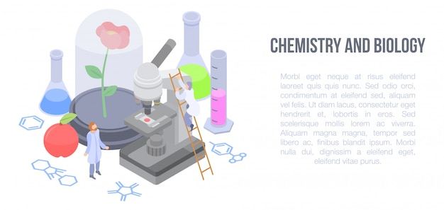 Chemistry and biology concept banner, isometric style