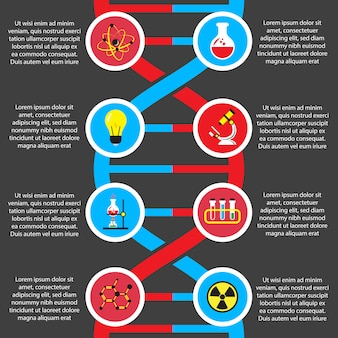 Chemistry or biology flat infographics template
