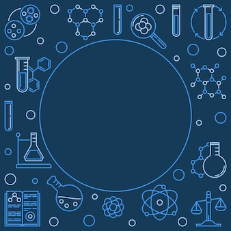 Chemistry blue background with outline icons