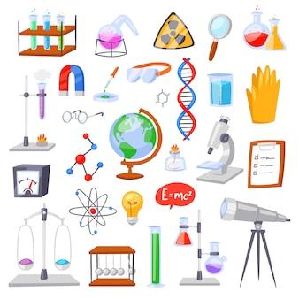 技術のための実験室での化学化学科学または薬学研究または実験室科学機器の実験室イラストセットでの実験