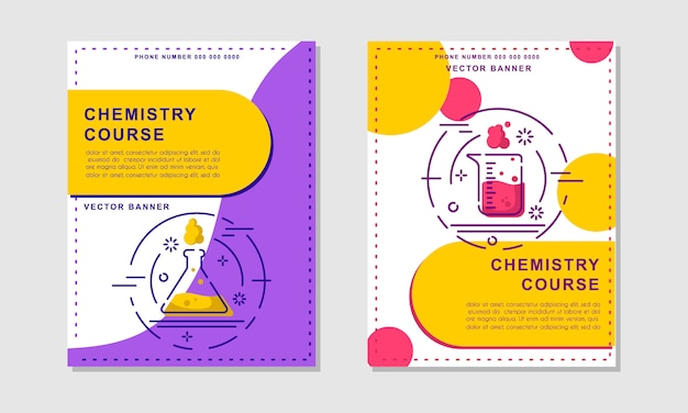 Chemistry course or lessonbanner templates. flyer, booklet - science, education