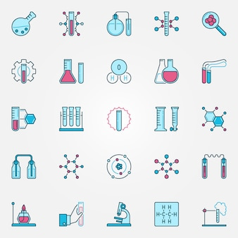 Chemistry creative icons set. chemical science concept vector colored signs or symbols