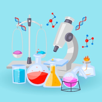 Chemistry equipment for experiments. vials, microscope, test-tubes with reagents and dna formulas