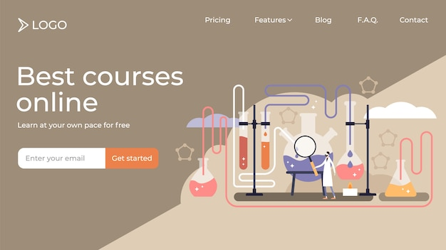 Chemistry flat tiny person vector illustration landing page template design