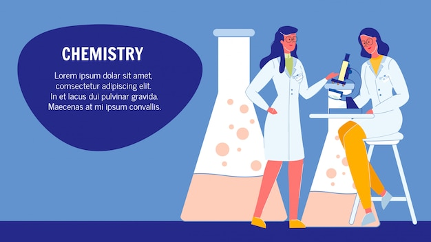 Chemistry flat web banner template with text space