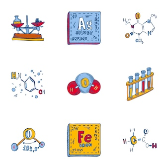 Chemistry formula icon set. hand drawn set of 9 chemistry formula icons