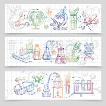 Chemistry horizontal sketch banners set with microscope and glasses