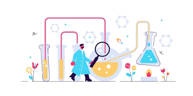 Chemistry industry  illustration. t mini science research persons concept.
