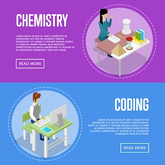 Chemistry and informatics studying at school banner web set