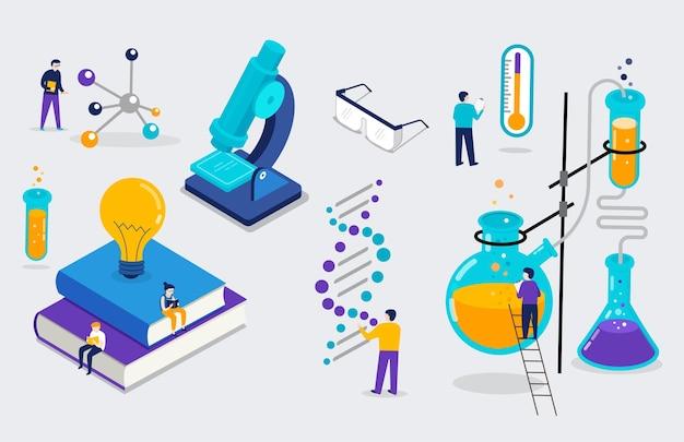 Химическая лаборатория и школьный класс, сцена естественно-научного образования с миниатюрными людьми, учениками, изометрическими