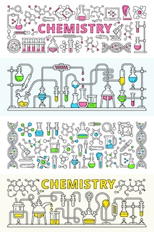Chemistry lab banner set