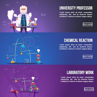 Chemistry lab colored banner set
