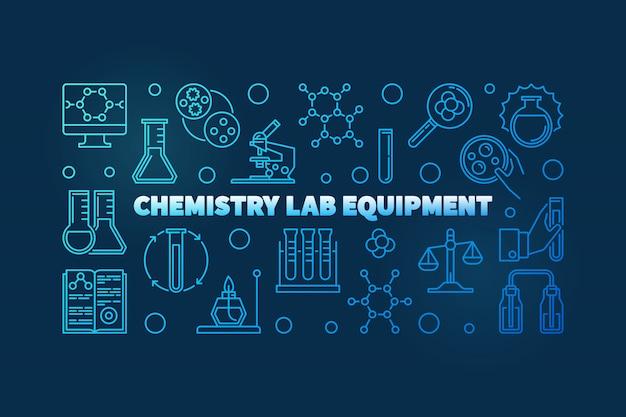Chemistry lab equipment blue outline banner