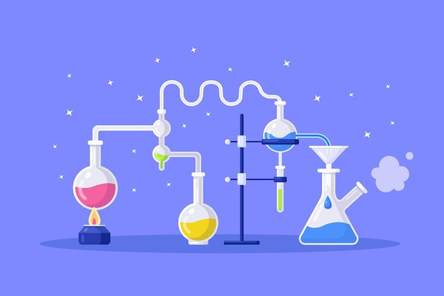 Chemistry lab equipment. flasks, beakers, burner. science instruments for chemical or biological researching
