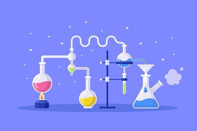 化学実験装置。フラスコ、ビーカー、バーナー。化学的または生物学的研究のための科学機器