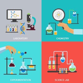 Insieme di elementi piani di laboratorio di chimica