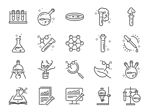 Chemistry lab icon set.