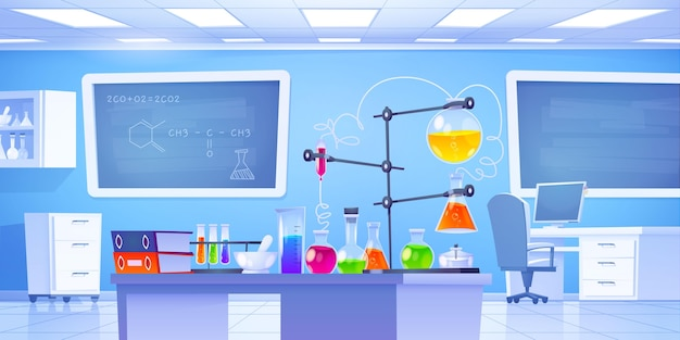 Химическая лаборатория иллюстрированный фон