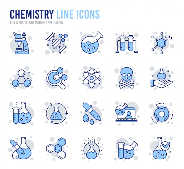 Chemistry lab line icons. chemical formula, microscope and medical analysis.