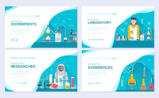 Flyear、ウェブバナー、uiヘッダーの化学実験室テンプレート。機器の招待状を持つ科学者。