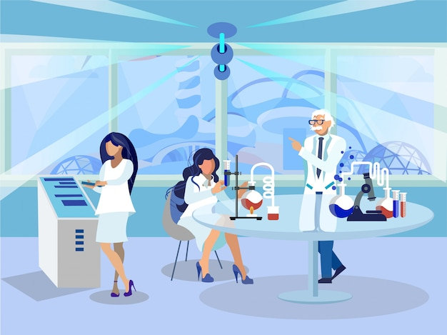 Chemistry lab workers flat vector illustration