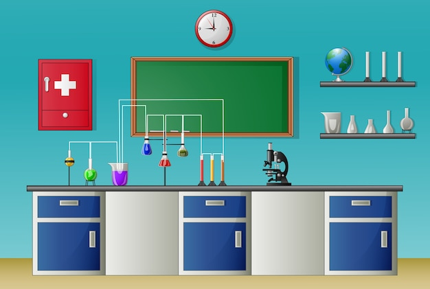 Chemistry laboratory class and science equipment concept