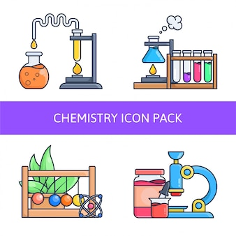 Chemistry in laboratory icon pack