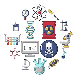 Chemistry laboratory icon set, cartoon style