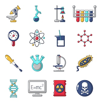 Chemistry laboratory icons set