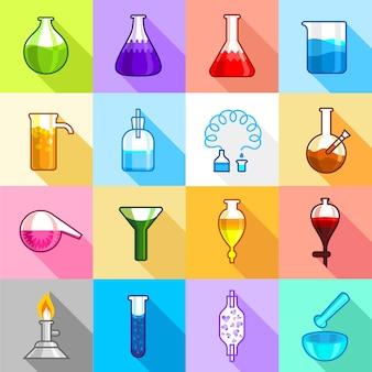 Chemistry laboratory icons set.