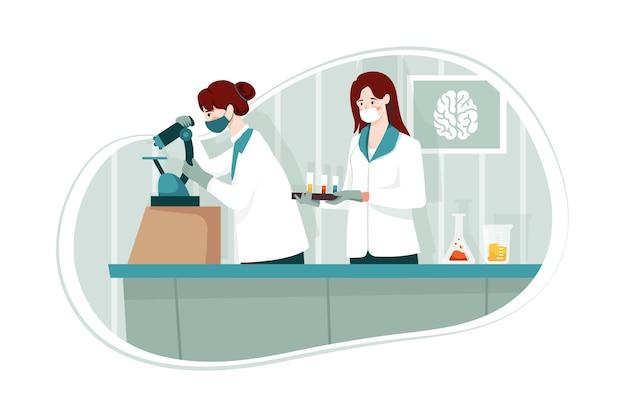 화학 실험실 그림 개념
