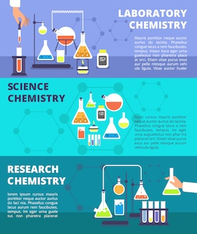 Chemistry laboratory research lab and science technology set banners