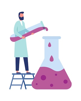 Chemistry laboratory worker. man in white coat doing clinical science experiments with equipment. medical researcher pouring liquid from tube to big flask standing on ladder vector illustration