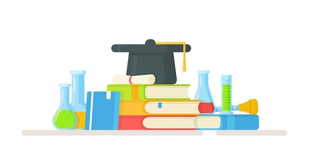 학교에서 화학 수업. 온라인 수업의 그림입니다. 학생들과 실험을 진행합니다.