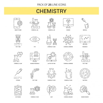 Chemistry line icon set - 25 dashed outline style